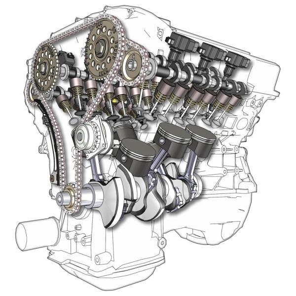 motor opengewerkt nokkenas zichtbaar